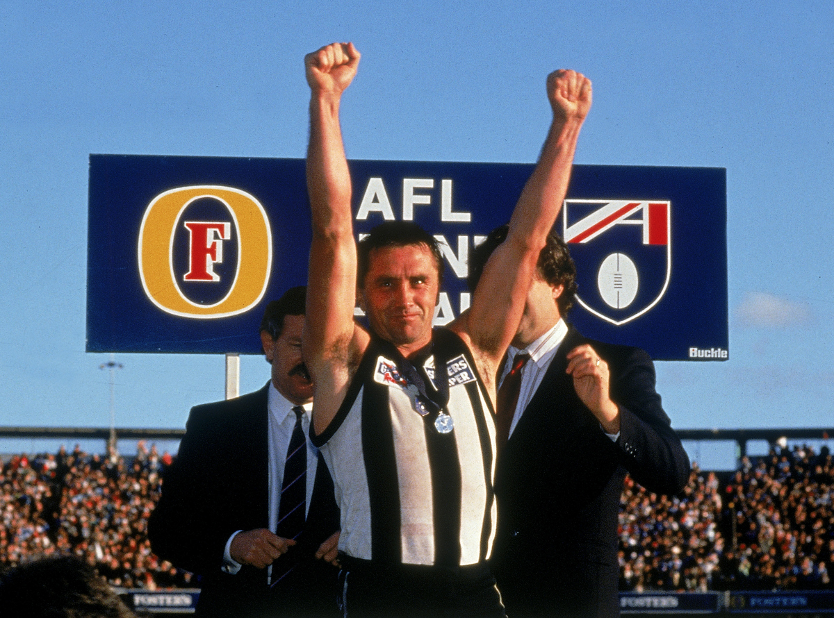 Tony Shaw celebrates after winning the 1990 AFL Grand Final. Pic: Getty Images