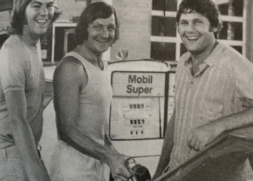 Thirsty Tigers at the pump: Neil Balme (left), Kevin Sheedy and Mal Brown.