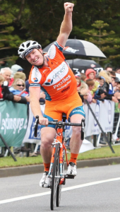 """The ecstatic New South Welshman Joel Pearson makes it a """"Warrnambool"""" massed-start double in 2011. (Courtesy The Standard)."""