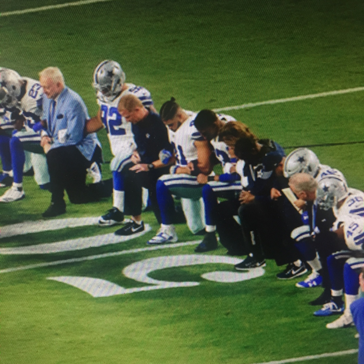 The Cowboys take a knee – before the anthem