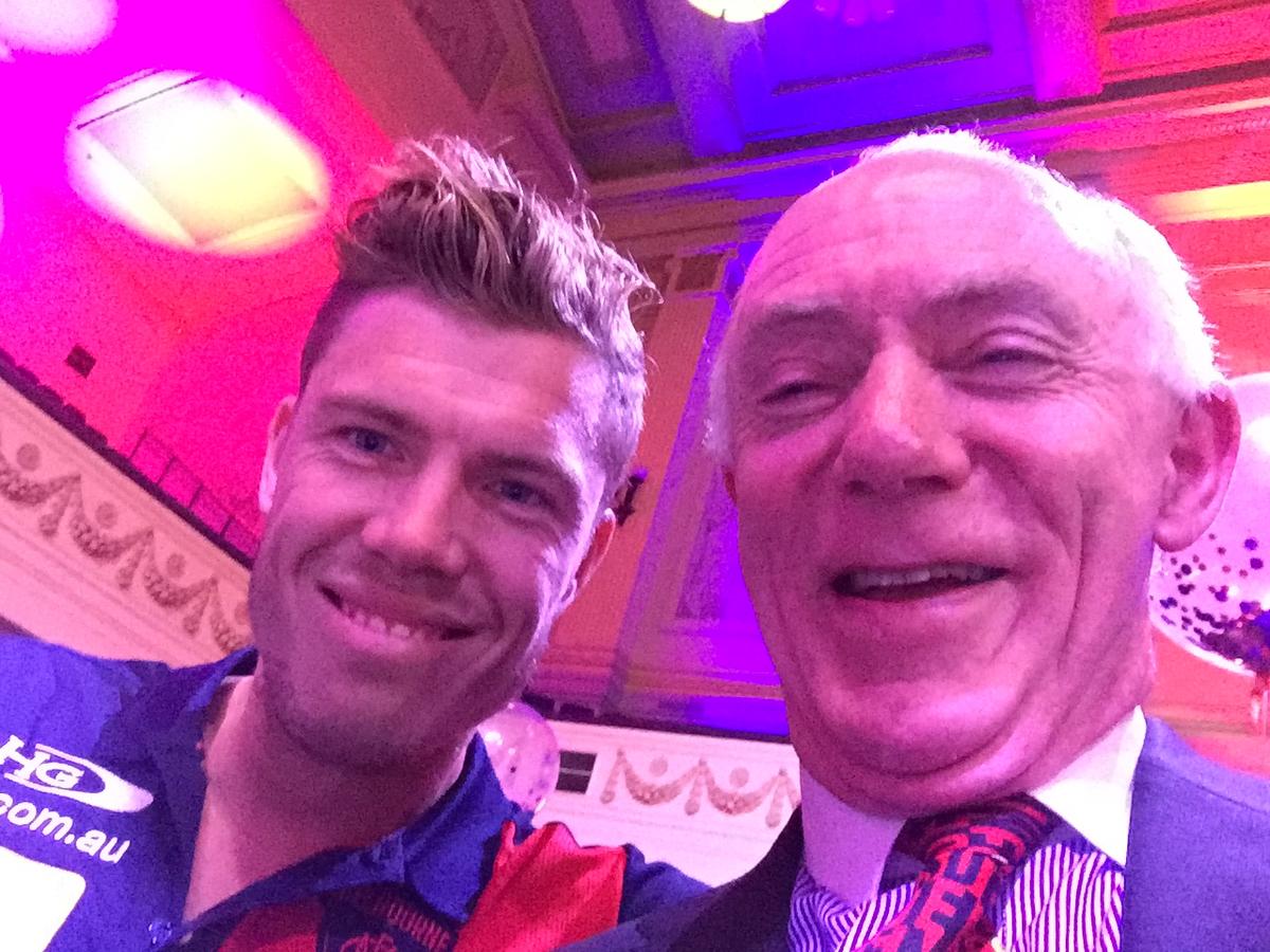 Ex-Bomber Jake Melksham with columnist Money