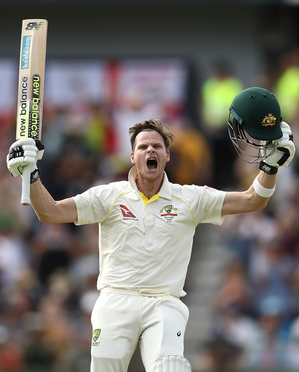 Steve Smith celebrates after reaching his double century (Pic: Ryan Pierse/Getty Images