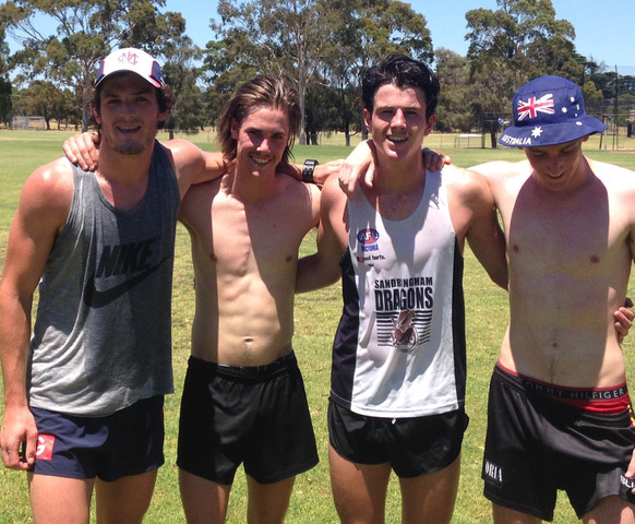 Angus Brayshaw (second from the right) with his brother and mates at Spring St Oval on Christmas Day, 2016