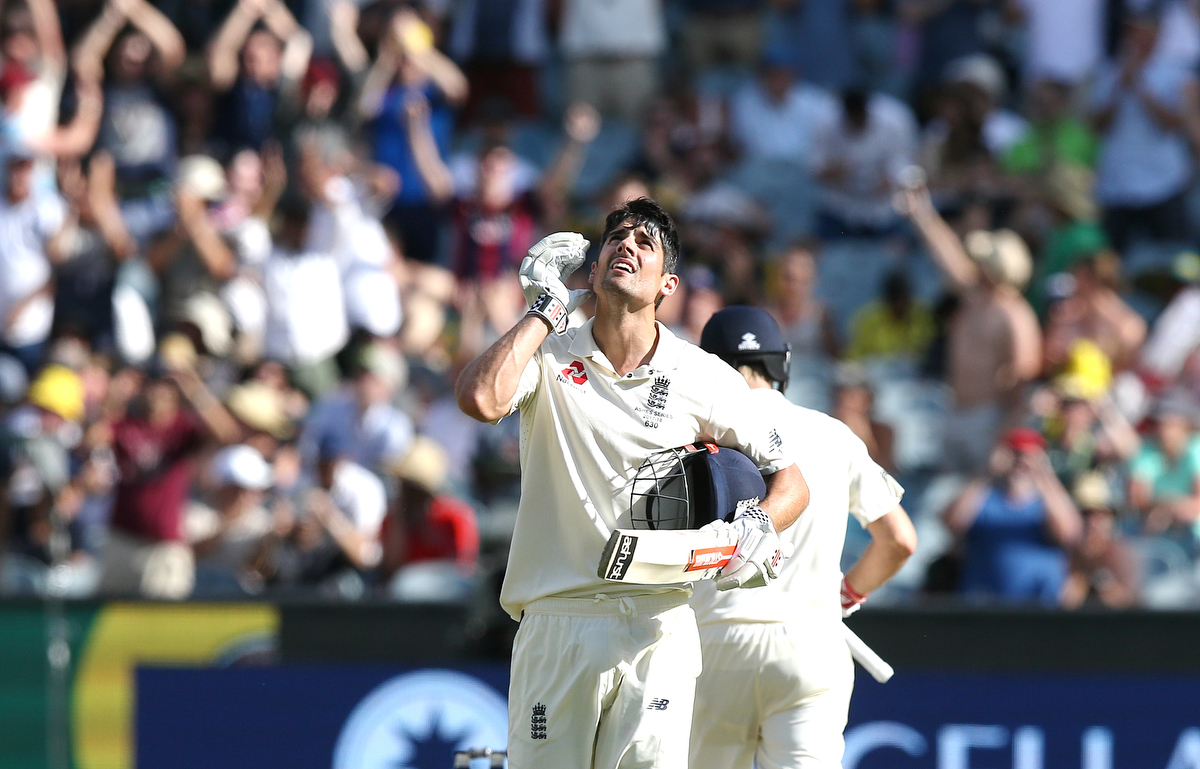 Alastair Cook looks to the sky after scoring his century.
