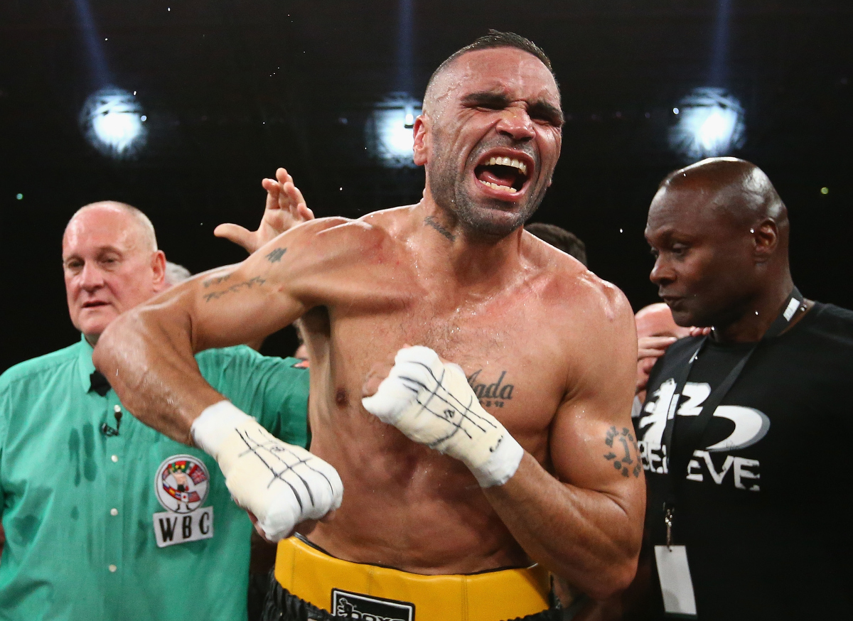 Anthony Mundine celebrates after defeating Sergey Rabchenko during the WBC Silver Light Middleweight fight. Pic: Robert Cianflone/Getty Images