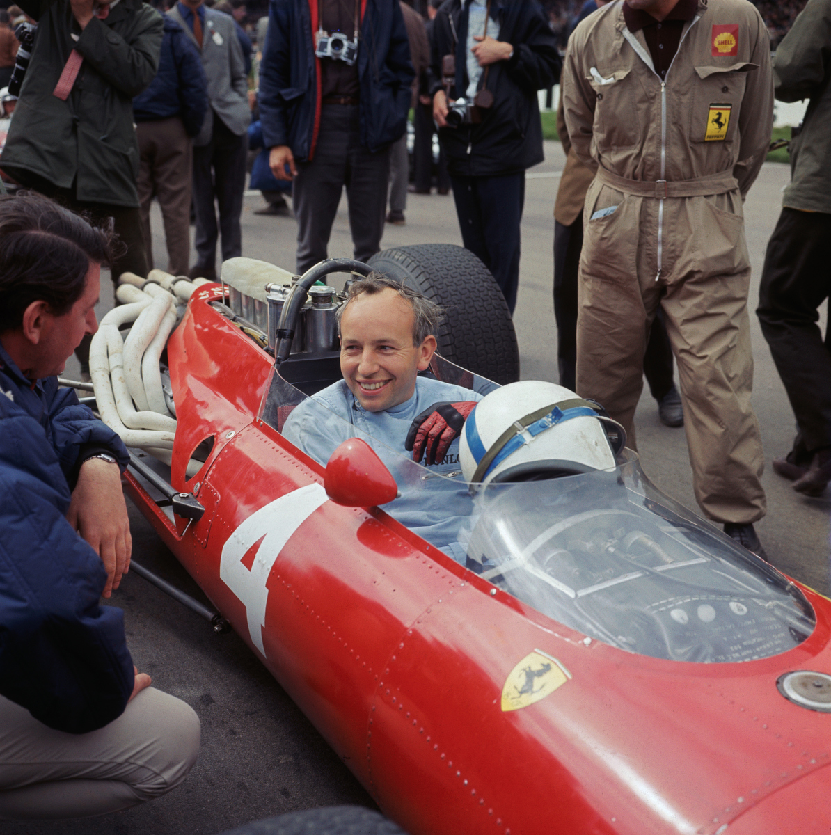 English Formula 1 racing driver John Surtees in a Ferrari at the Silverstone circuit, 1966. Pic: Central Press/Hulton Archive/Getty Images
