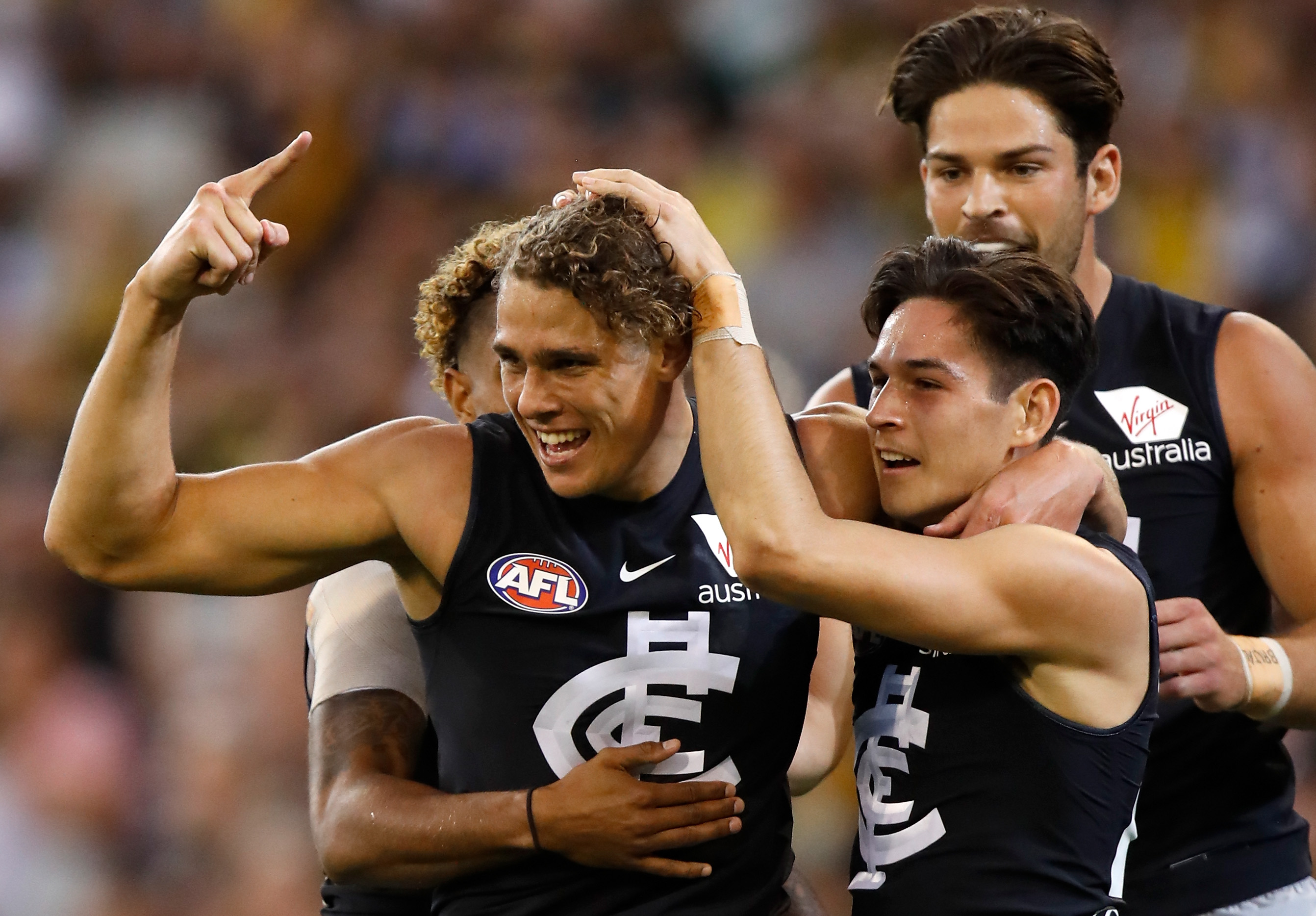Charlie Curnow celebrates a goal In their round 1 clash against Richmond. Pic: Michael Willson/AFL Media/Getty Images