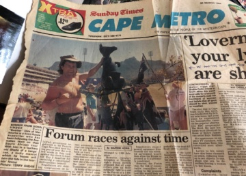 Sportshound Colin Dale made front page news at the South African Test in 1994.