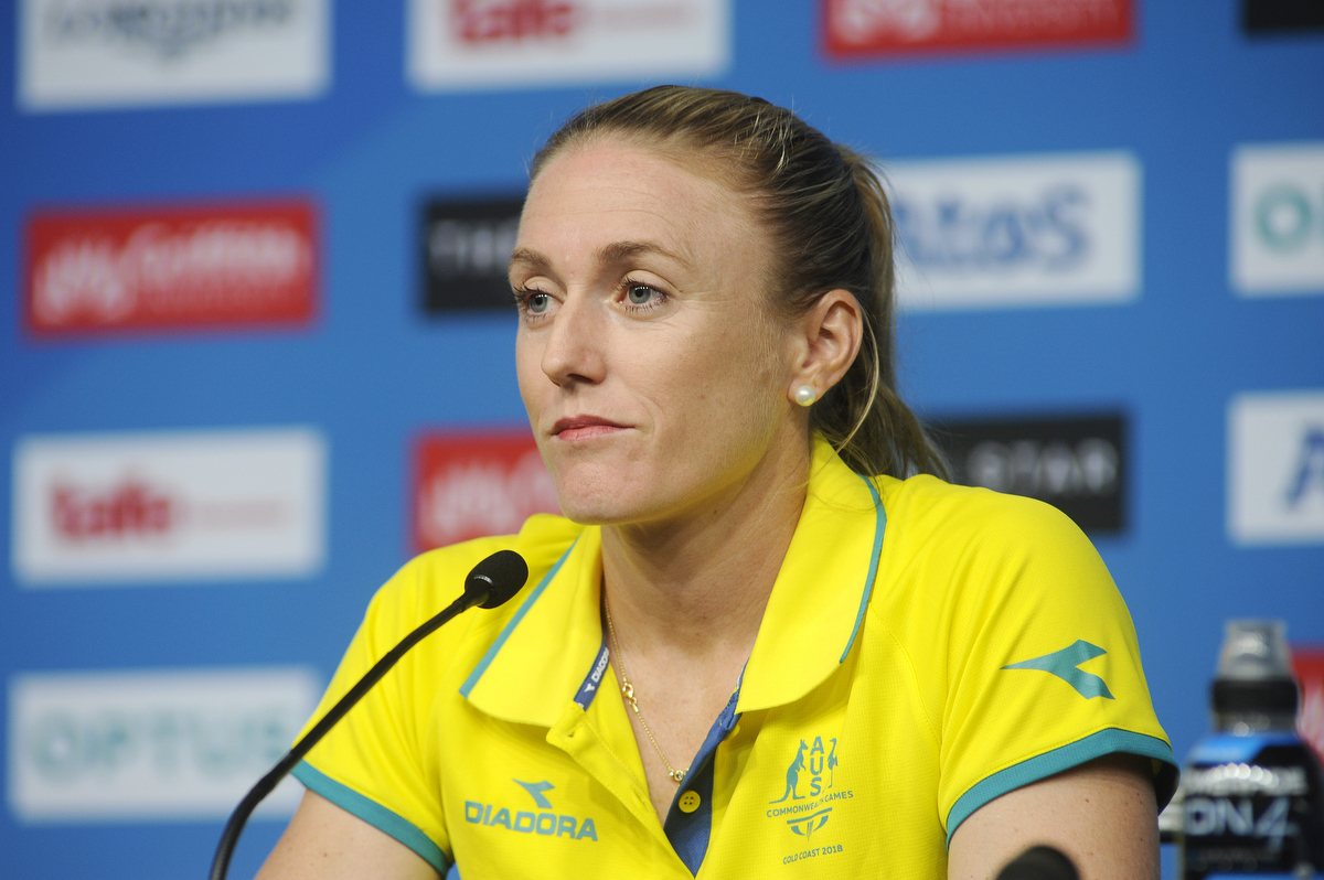 Sally Pearson announcing her withdrawal from the games due to an achilles injury. Pic: Nick La Galle
