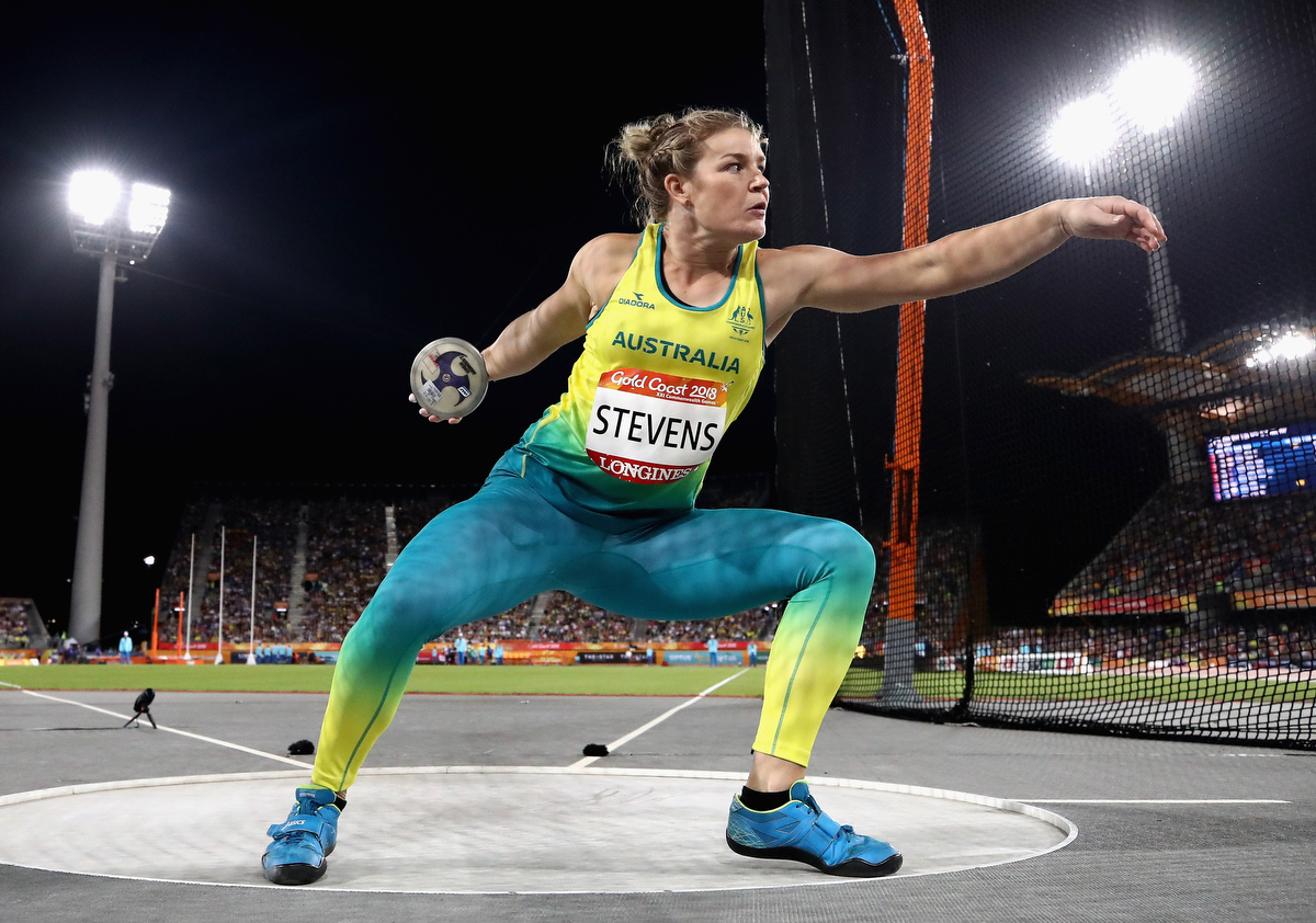 Dani Stevens on her way to gold in the Discus. Pic: Cameron Spencer/Getty Images