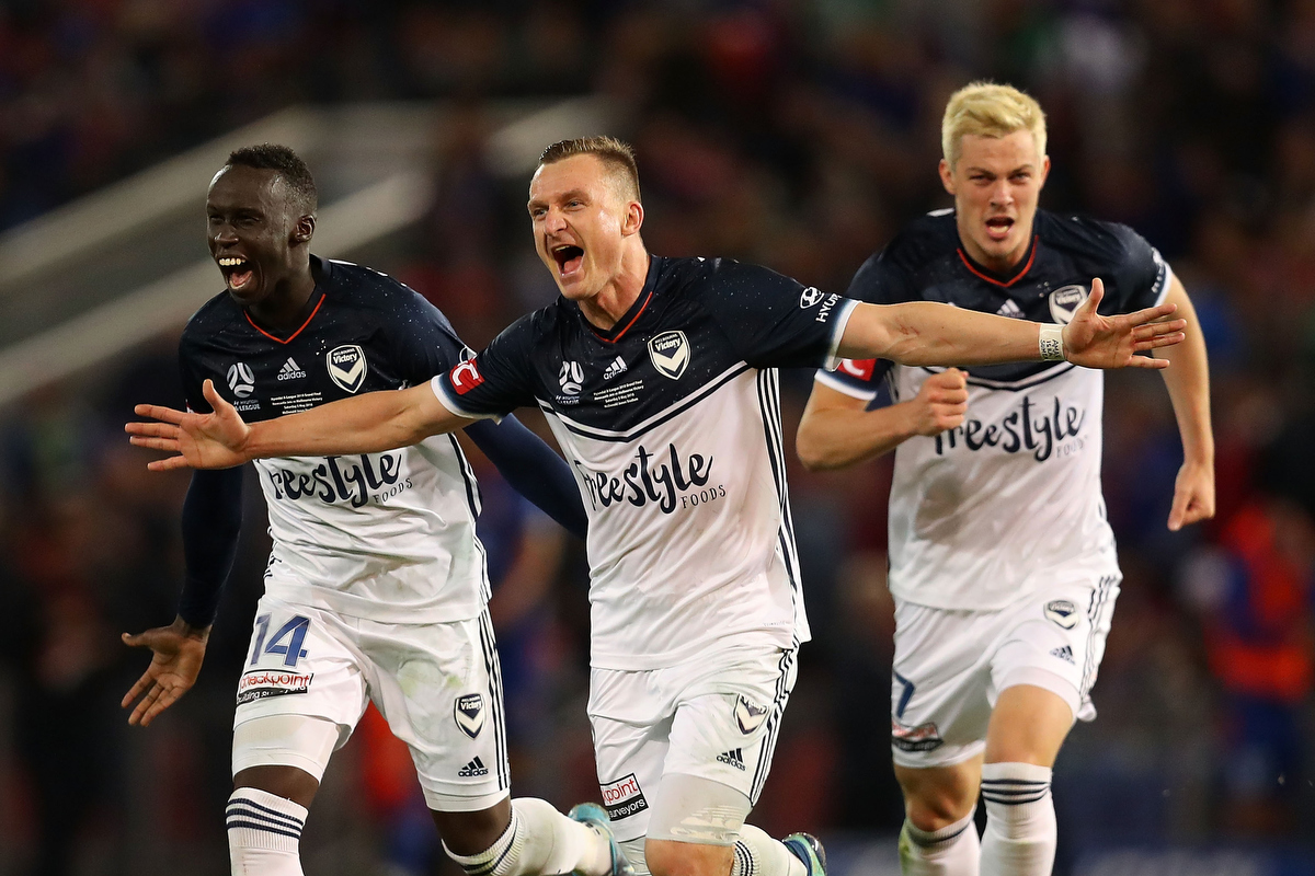 Besart Berisha celebrates the win over the Jets. Pic: Tony Feder/Getty Images