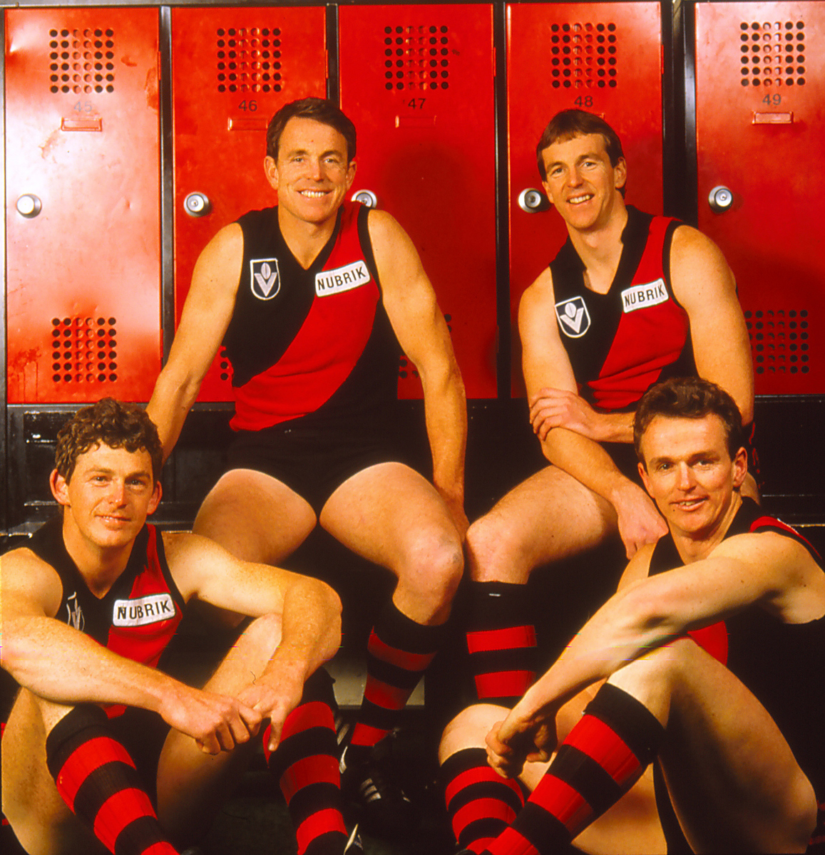 The Daniher brothers, Terry, Neale, Chris and Anthony of the Essendon Bombers pose in Melbourne, Australia. (Photo by Getty Images)