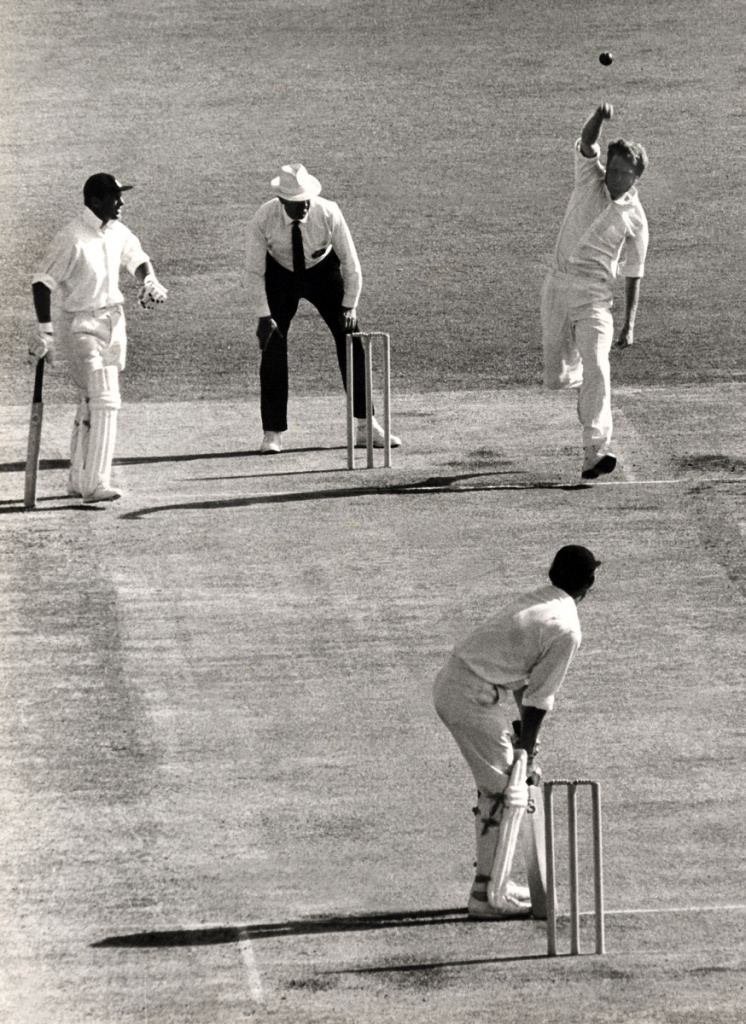 """BRISBANE 1970: Thomson to Brian Luckhurst. It was the first ball of the 1970-71 Ashes series and was mistakenly """"called"""" by umpire Lou Rowan... the """"Frog"""" had already released the ball and his front foot had not landed. Bruce Postle archives"""